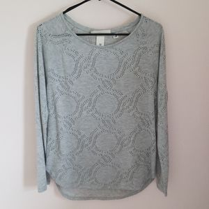Grey H&M top with rounded hem